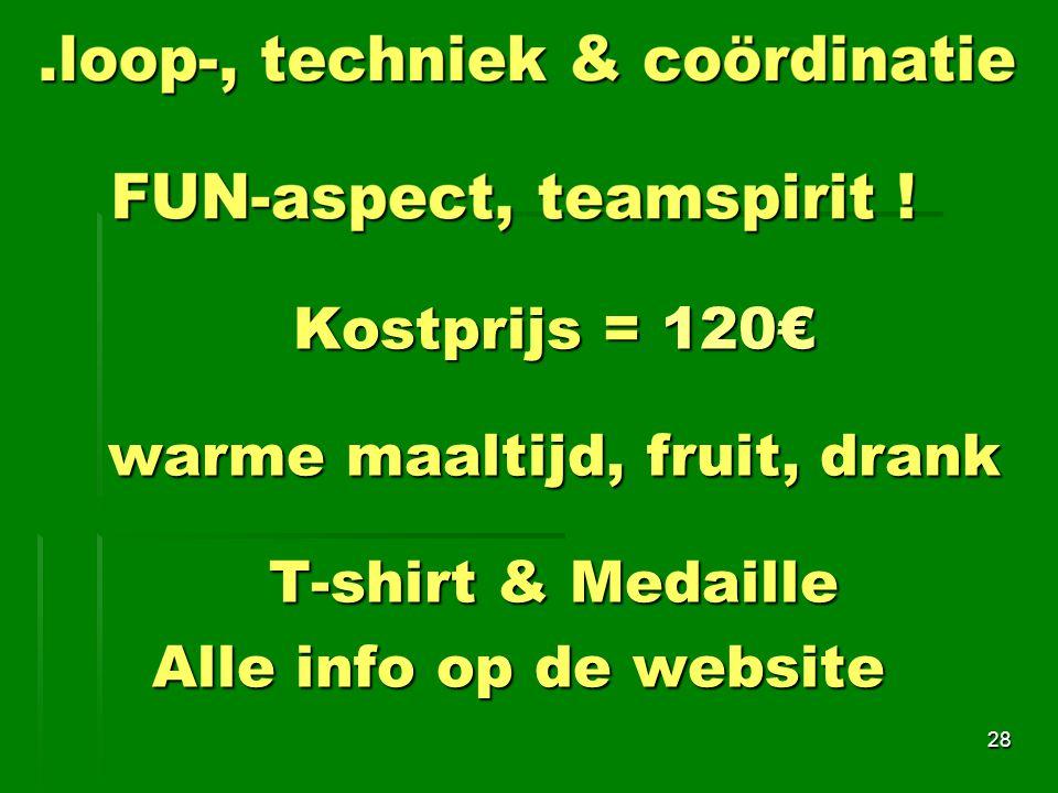 Kostprijs = 120€ warme maaltijd, fruit, drank T-shirt & Medaille Alle info op de website