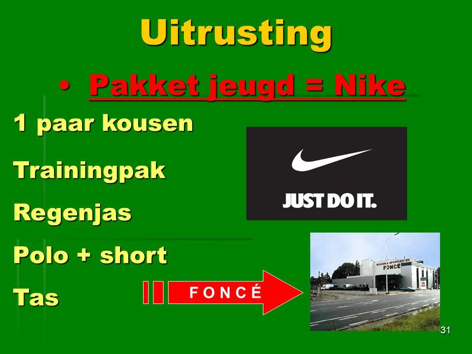 Uitrusting Pakket jeugd = Nike 1 paar kousen Trainingpak Regenjas