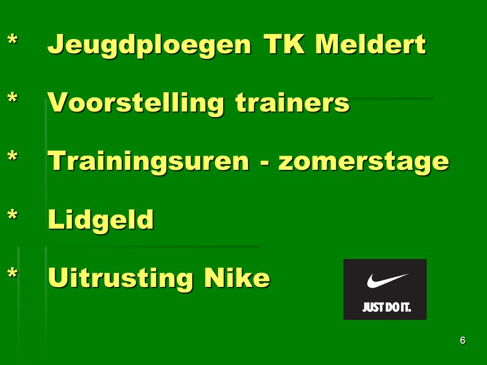 Jeugdploegen TK Meldert. Voorstelling trainers