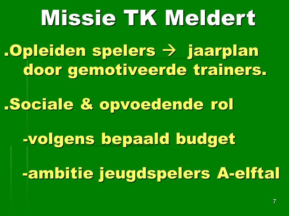 Missie TK Meldert .Opleiden spelers  jaarplan door gemotiveerde trainers. .Sociale & opvoedende rol.
