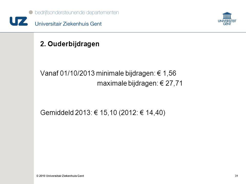 2. Ouderbijdragen Vanaf 01/10/2013 minimale bijdragen: € 1,56.
