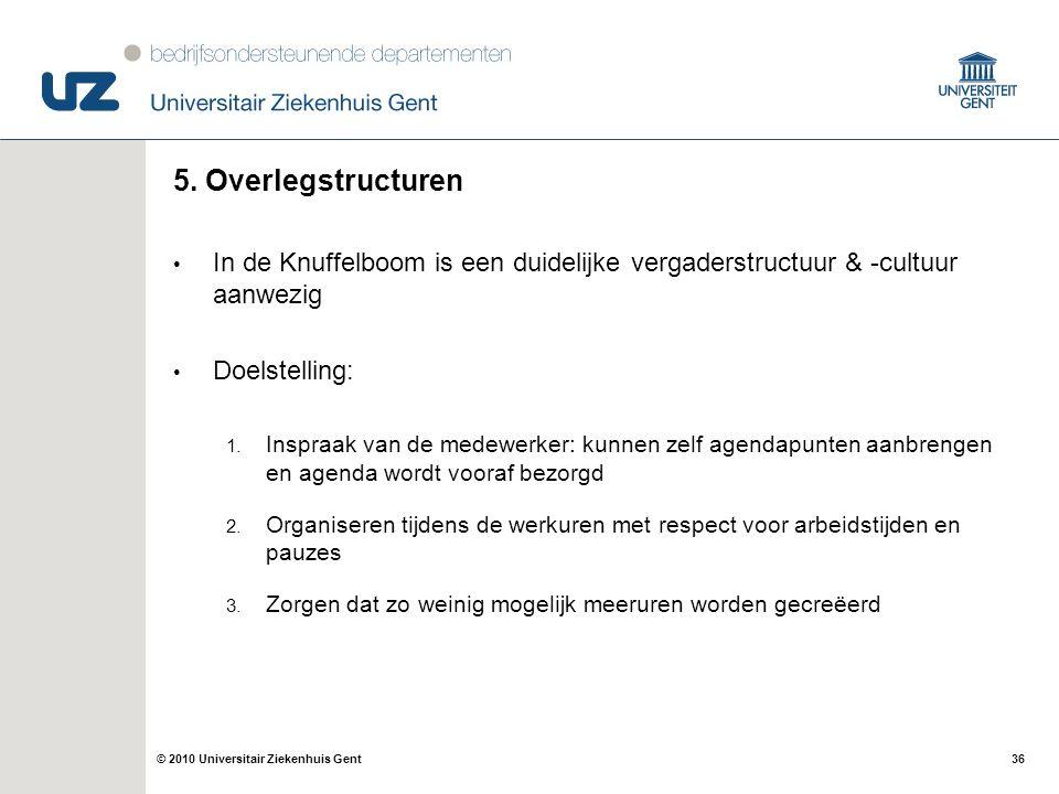 5. Overlegstructuren In de Knuffelboom is een duidelijke vergaderstructuur & -cultuur aanwezig. Doelstelling: