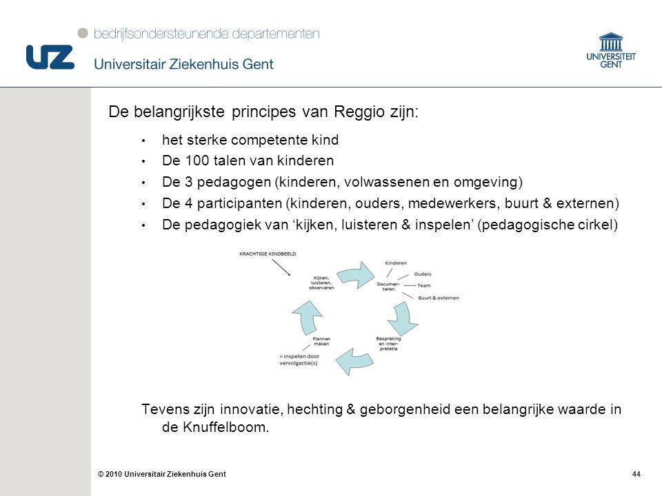 De belangrijkste principes van Reggio zijn: