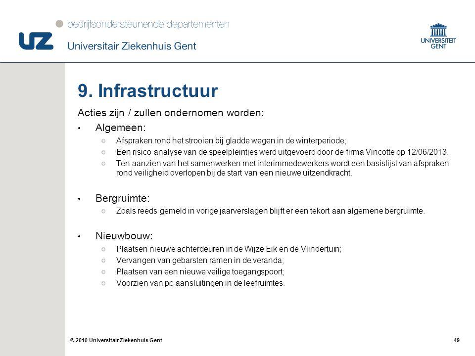 9. Infrastructuur Acties zijn / zullen ondernomen worden: Algemeen: