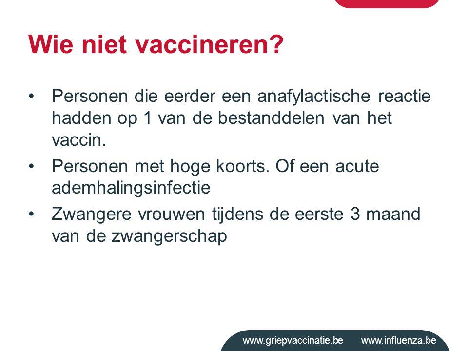 Wie niet vaccineren Personen die eerder een anafylactische reactie hadden op 1 van de bestanddelen van het vaccin.