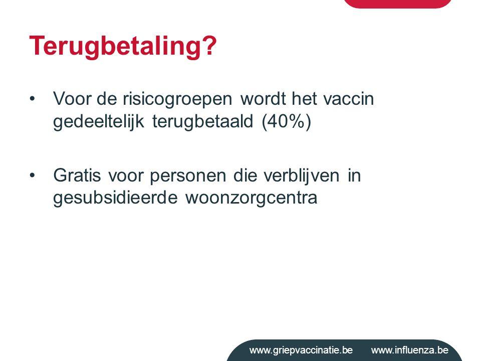Terugbetaling Voor de risicogroepen wordt het vaccin gedeeltelijk terugbetaald (40%)