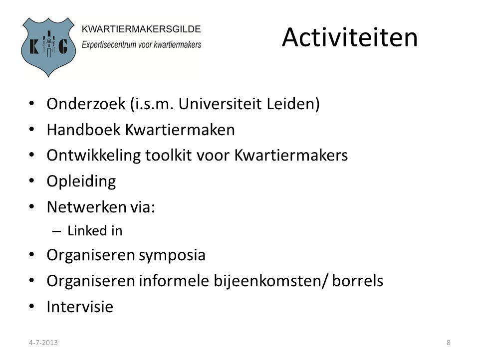 Activiteiten Onderzoek (i.s.m. Universiteit Leiden)
