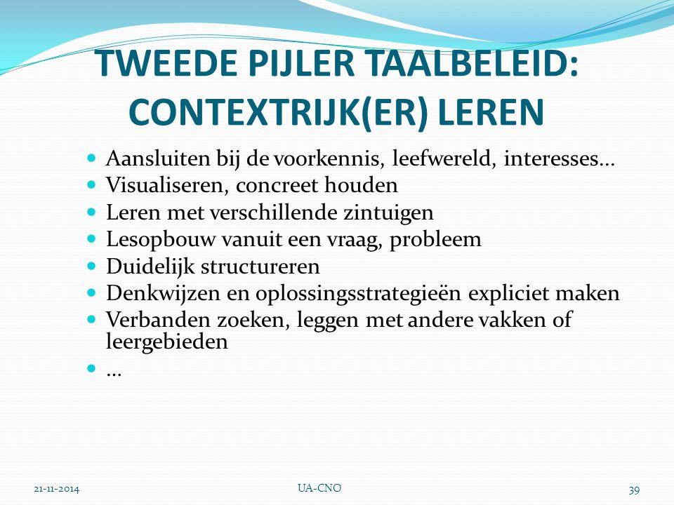 TWEEDE PIJLER TAALBELEID: CONTEXTRIJK(ER) LEREN