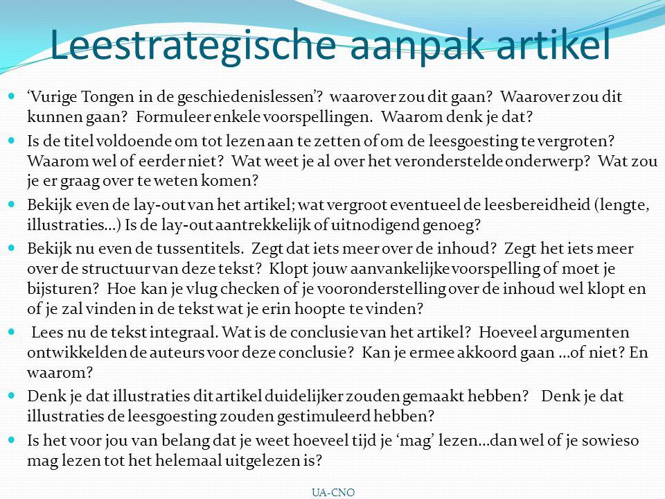 Leestrategische aanpak artikel