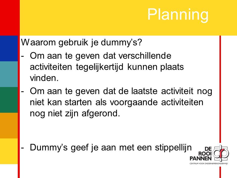 Planning Waarom gebruik je dummy's