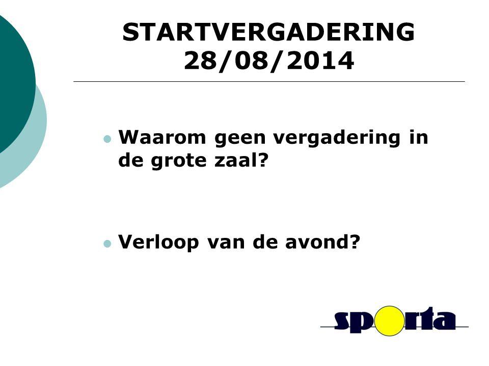 STARTVERGADERING 28/08/2014 Waarom geen vergadering in de grote zaal