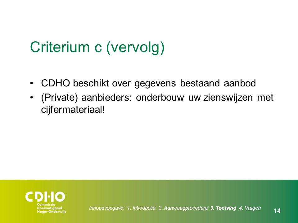 Criterium c (vervolg) CDHO beschikt over gegevens bestaand aanbod