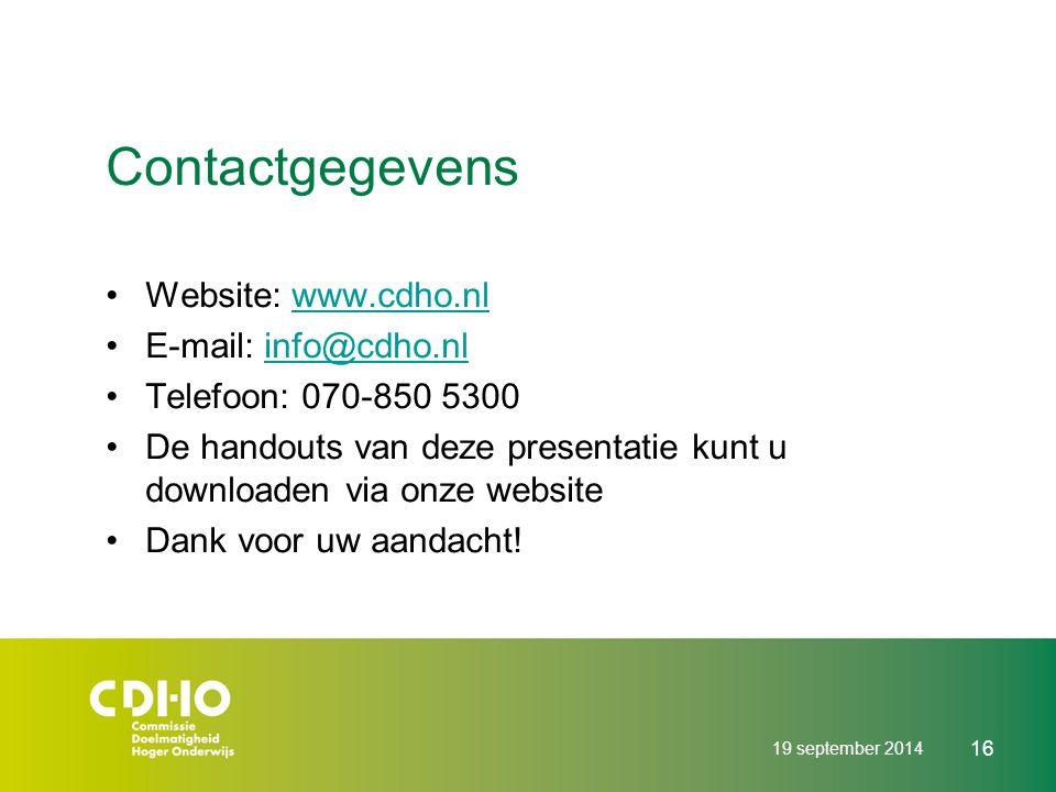 Contactgegevens Website: www.cdho.nl E-mail: info@cdho.nl