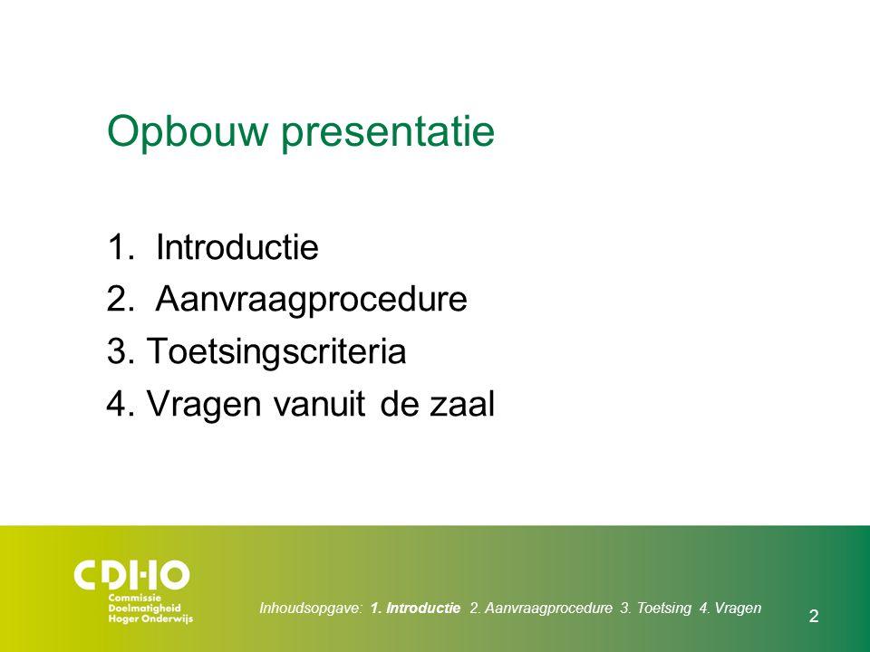 Opbouw presentatie Introductie Aanvraagprocedure 3. Toetsingscriteria