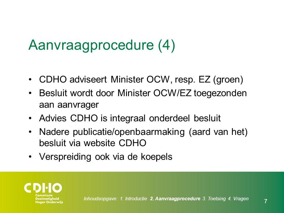 Aanvraagprocedure (4) CDHO adviseert Minister OCW, resp. EZ (groen)