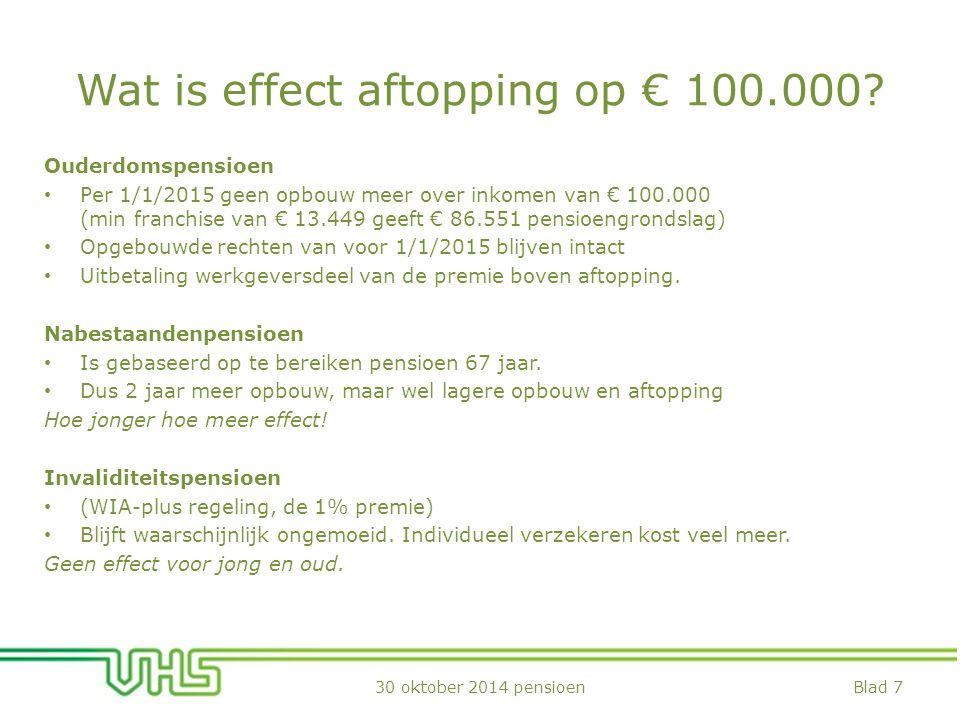 Wat is effect aftopping op € 100.000