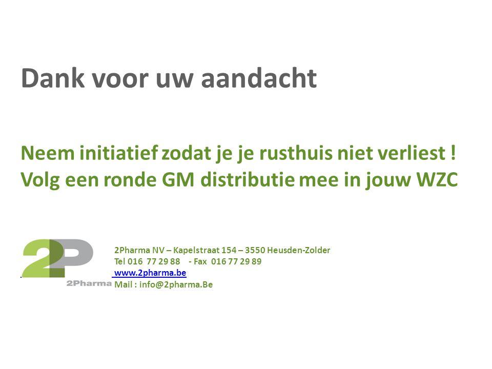 Dank voor uw aandacht Neem initiatief zodat je je rusthuis niet verliest ! Volg een ronde GM distributie mee in jouw WZC.