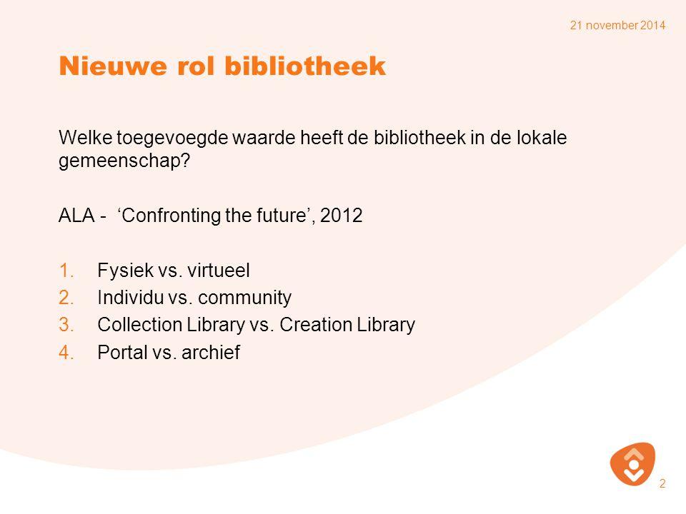 Nieuwe rol bibliotheek