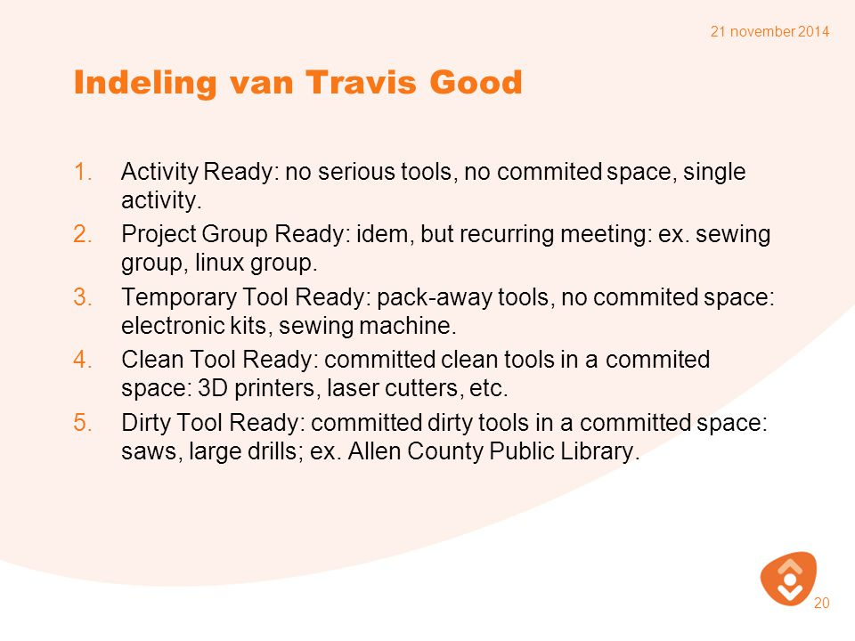 Indeling van Travis Good