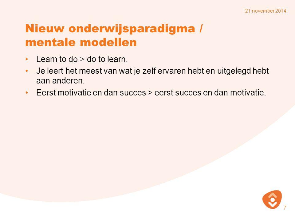 Nieuw onderwijsparadigma / mentale modellen
