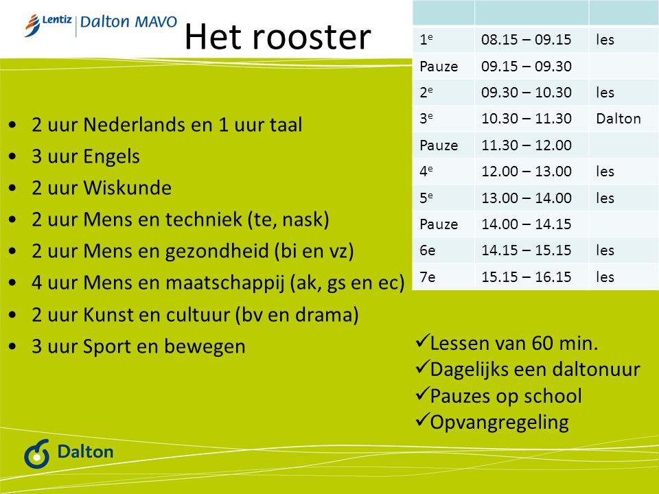 Het rooster 2 uur Nederlands en 1 uur taal 3 uur Engels 2 uur Wiskunde