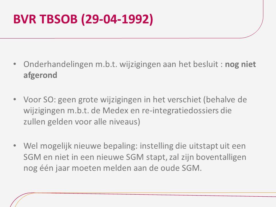 BVR TBSOB (29-04-1992) Onderhandelingen m.b.t. wijzigingen aan het besluit : nog niet afgerond.