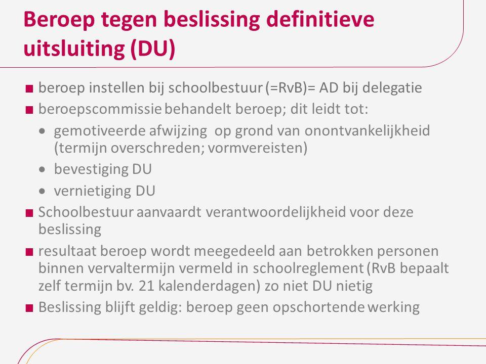 Beroep tegen beslissing definitieve uitsluiting (DU)