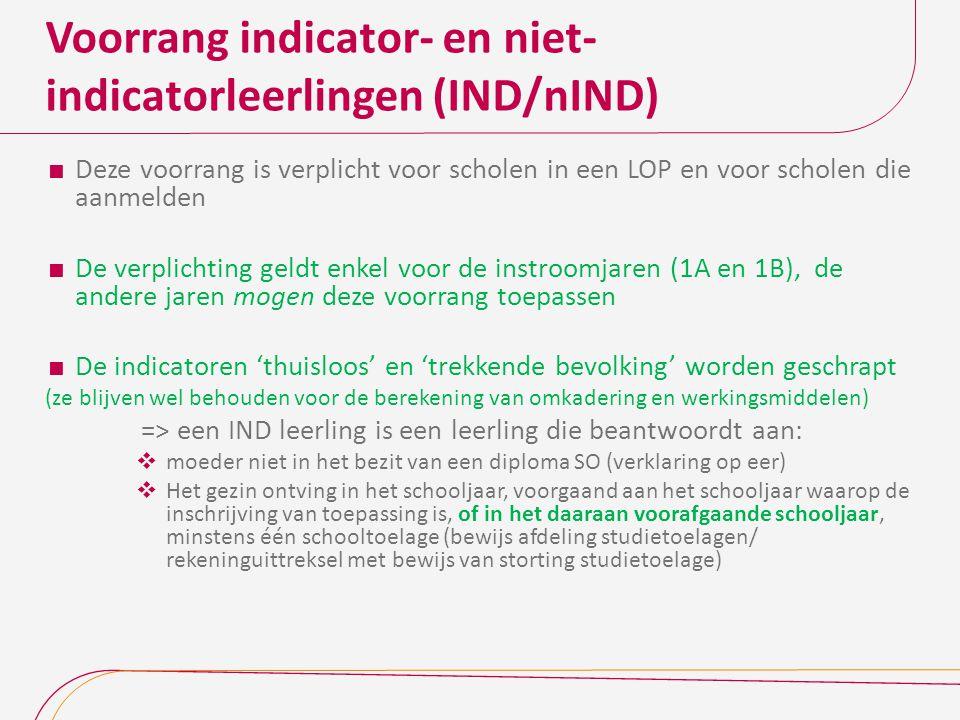 Voorrang indicator- en niet-indicatorleerlingen (IND/nIND)