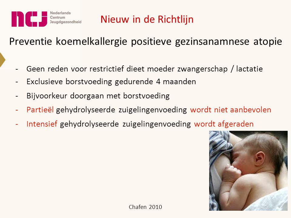 Preventie koemelkallergie positieve gezinsanamnese atopie