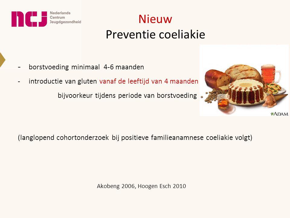Nieuw Preventie coeliakie borstvoeding minimaal 4-6 maanden