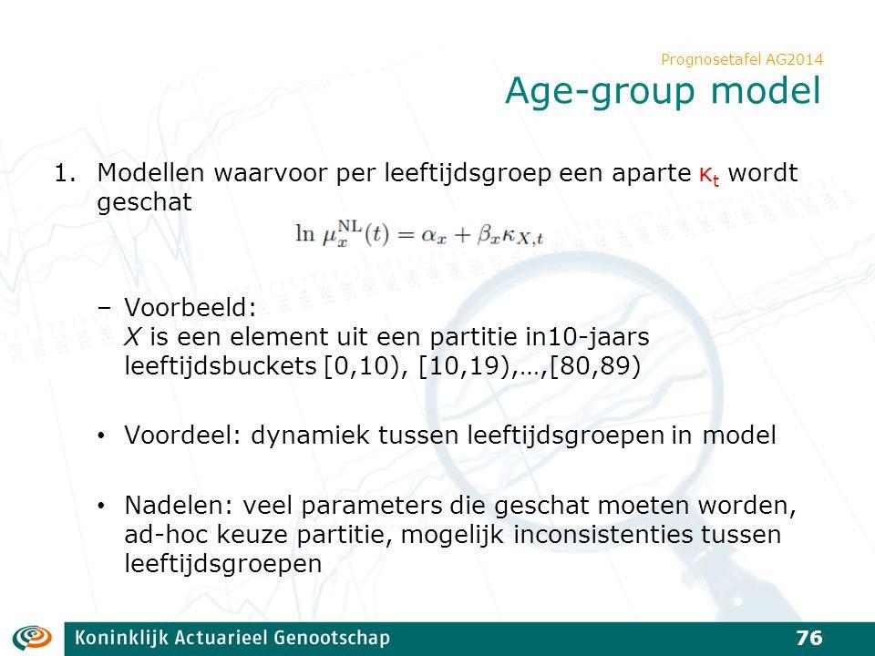 Prognosetafel AG2014 Age-group model