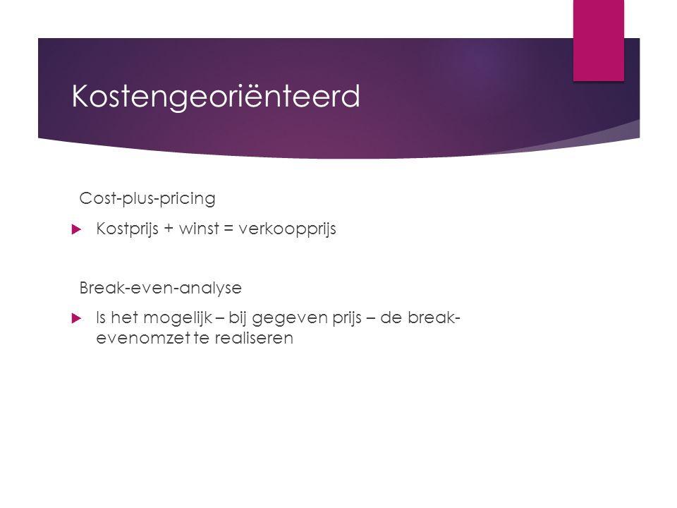 Kostengeoriënteerd Cost-plus-pricing Kostprijs + winst = verkoopprijs