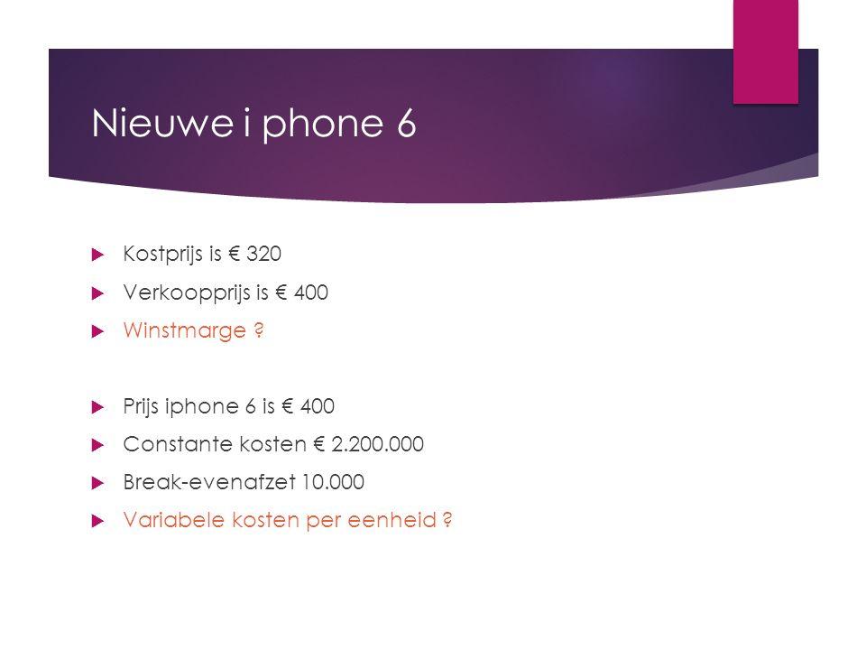 Nieuwe i phone 6 Kostprijs is € 320 Verkoopprijs is € 400 Winstmarge