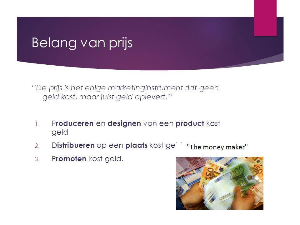 Belang van prijs ''De prijs is het enige marketinginstrument dat geen geld kost, maar juist geld oplevert.''