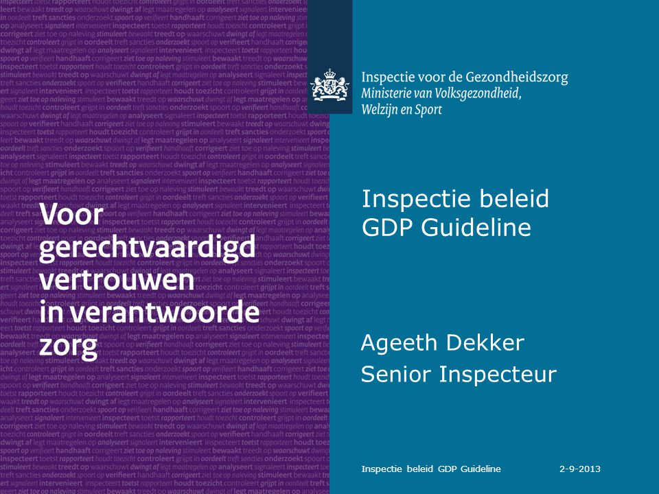 Inspectie beleid GDP Guideline