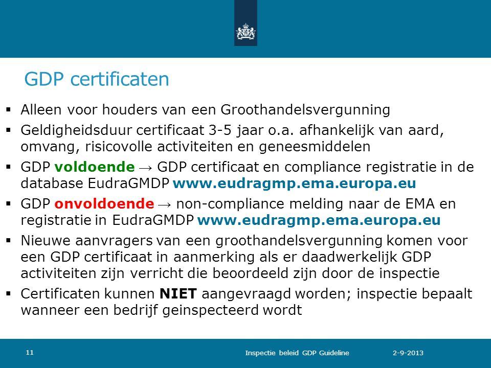 GDP certificaten Alleen voor houders van een Groothandelsvergunning