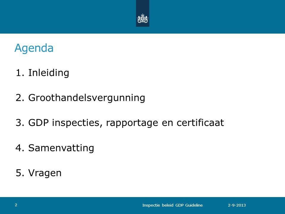 Agenda 2. Groothandelsvergunning
