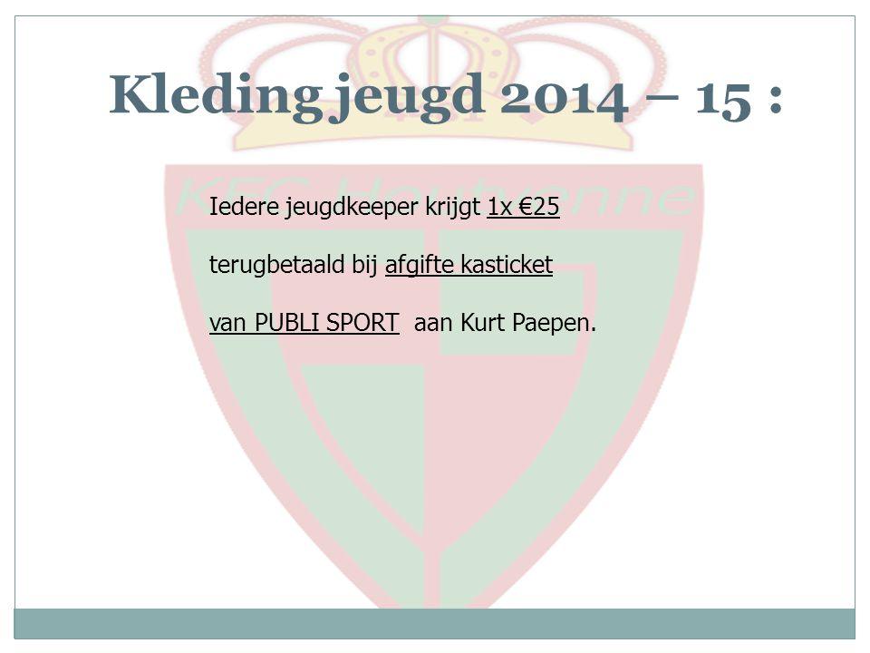 Kleding jeugd 2014 – 15 : Iedere jeugdkeeper krijgt 1x €25