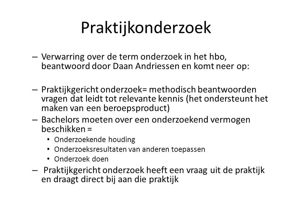 Praktijkonderzoek Verwarring over de term onderzoek in het hbo, beantwoord door Daan Andriessen en komt neer op: