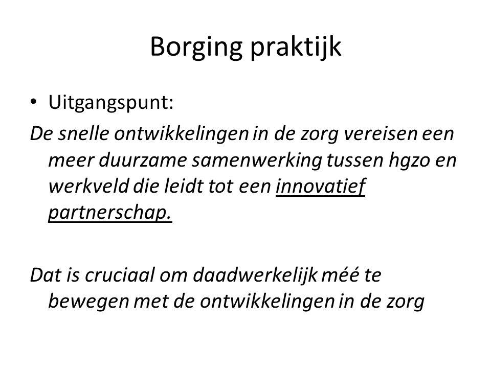 Borging praktijk Uitgangspunt:
