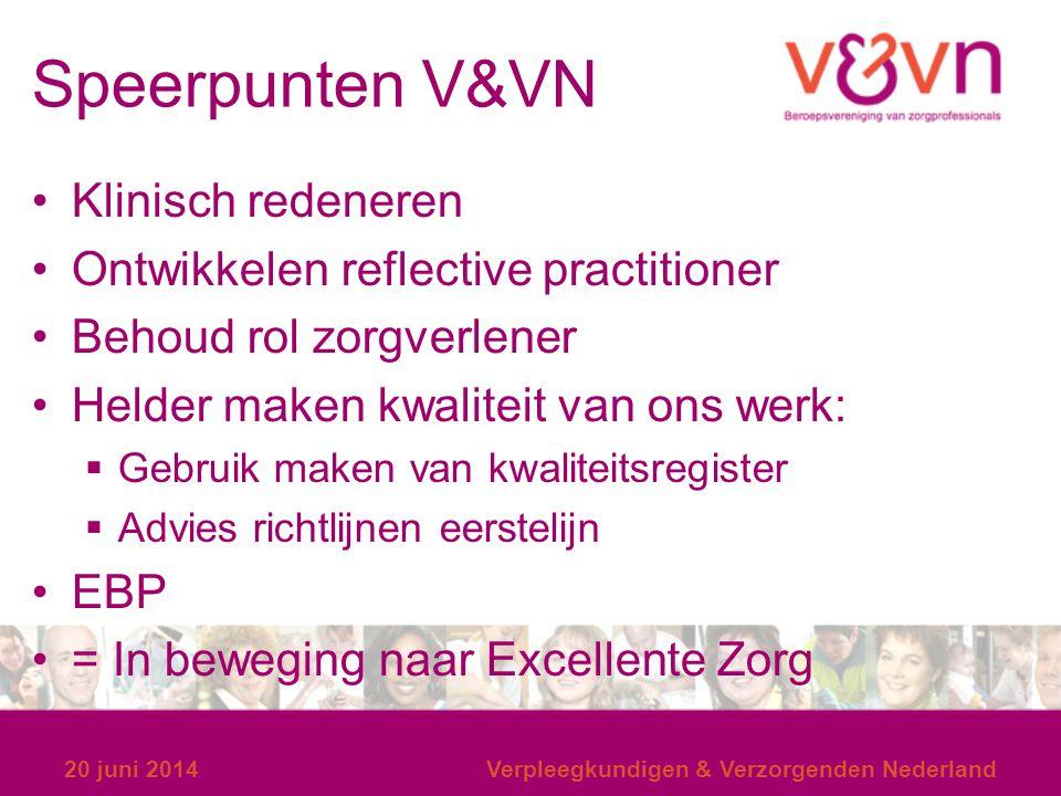 Speerpunten V&VN Klinisch redeneren