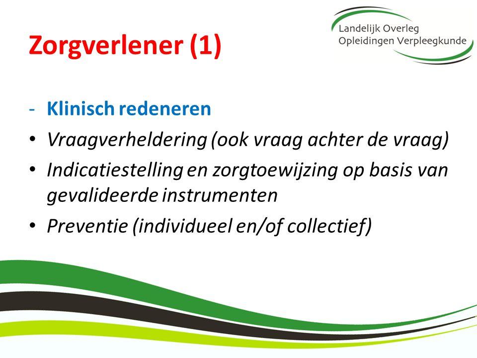 Zorgverlener (1) Klinisch redeneren