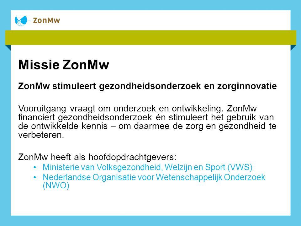 Missie ZonMw ZonMw stimuleert gezondheidsonderzoek en zorginnovatie