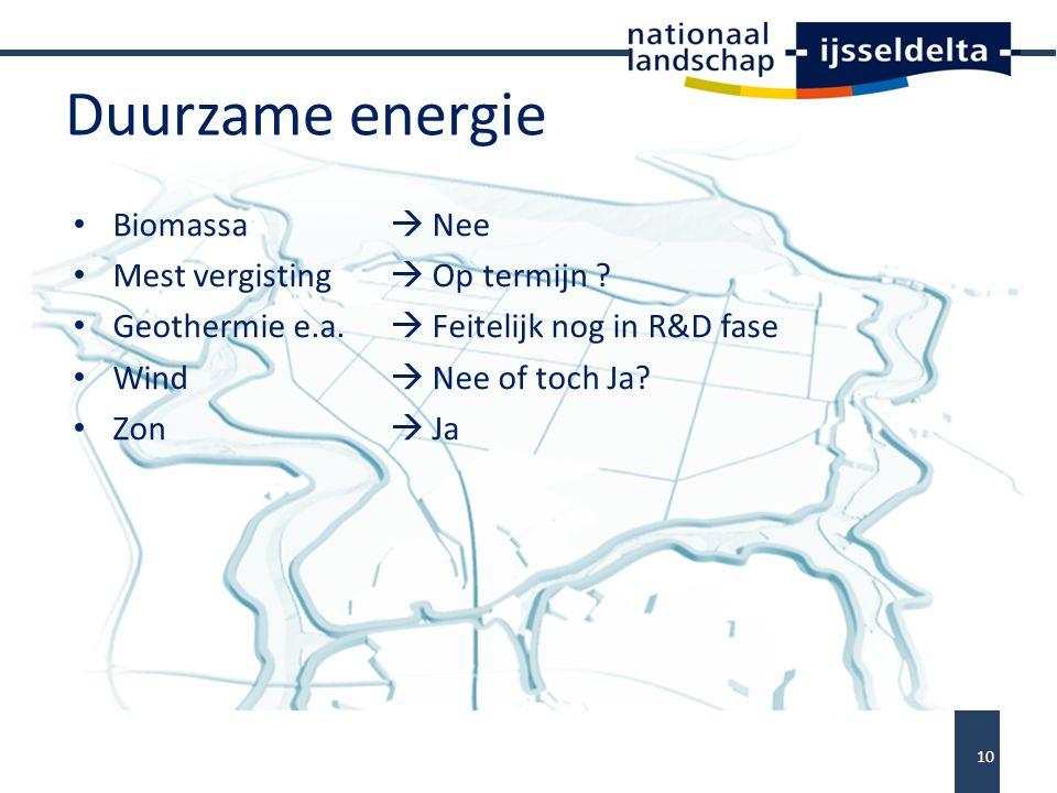 Duurzame energie Biomassa  Nee Mest vergisting  Op termijn