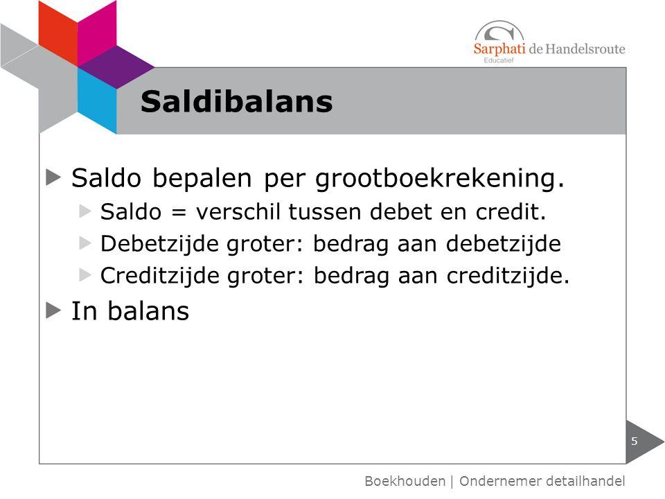Saldibalans Saldo bepalen per grootboekrekening. In balans
