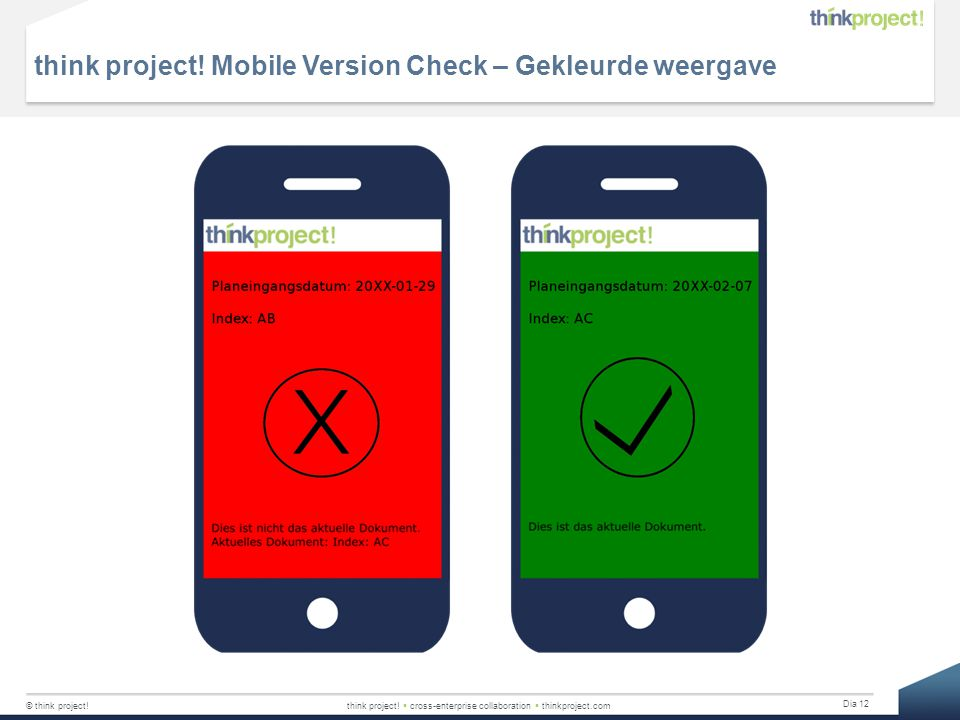 think project! Mobile Version Check – Gekleurde weergave