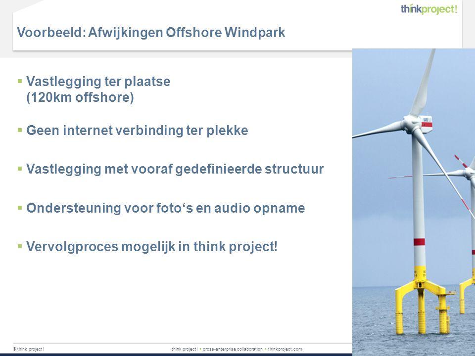 Voorbeeld: Afwijkingen Offshore Windpark