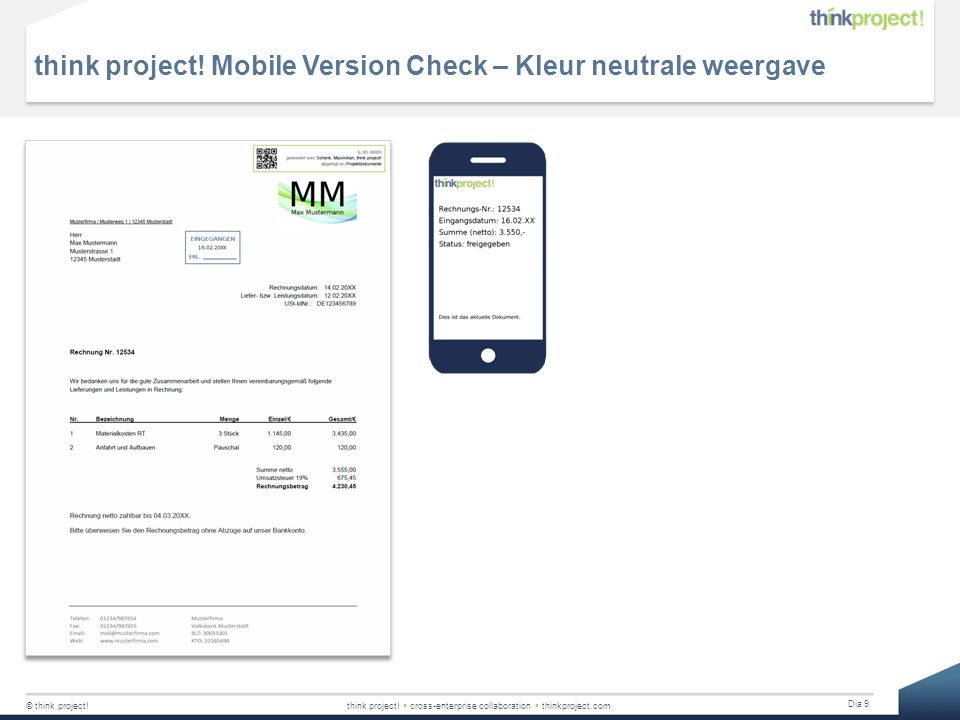 think project! Mobile Version Check – Kleur neutrale weergave