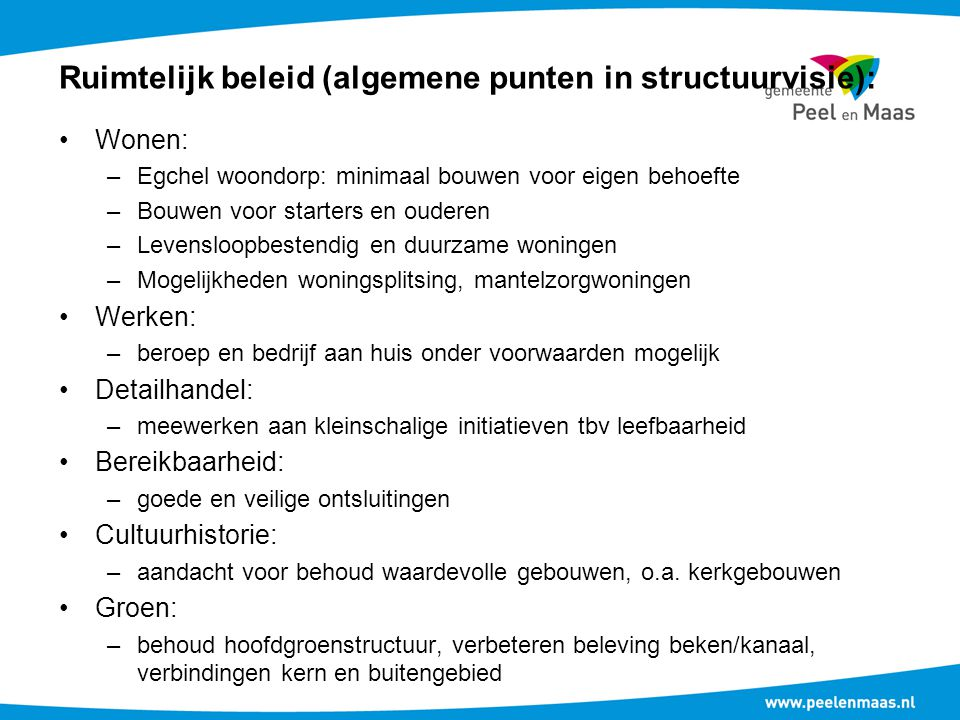 Ruimtelijk beleid (algemene punten in structuurvisie):