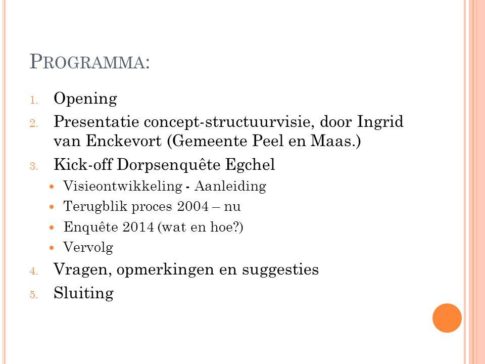 Programma: Opening. Presentatie concept-structuurvisie, door Ingrid van Enckevort (Gemeente Peel en Maas.)